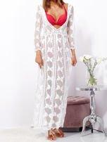 SCANDEZZA Ecru maxi sukienka plażowa z głębokim dekoltem                                  zdj.                                  8