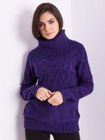 SCANDEZZA Fioletowy sweter golf w warkocze                                  zdj.                                  3