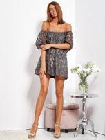 Grafitowa sukienka hiszpanka mini ze wzorem paisley                                  zdj.                                  5