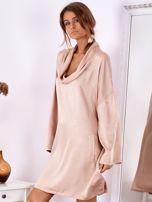 Pudroworóżowa luźna sukienka z jedwabiem                                  zdj.                                  4