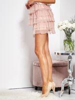 SCANDEZZA Pudroworóżowa mini spódnica z tiulem i falbanami                                  zdj.                                  9