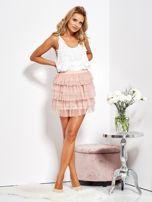 SCANDEZZA Pudroworóżowa mini spódnica z tiulem i falbanami                                  zdj.                                  10