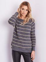Szary sweter z błyszczącą nitką                                  zdj.                                  8