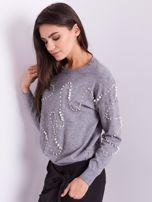 Szary sweter z perełkami                                  zdj.                                  5