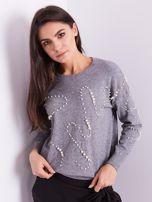Szary sweter z perełkami                                  zdj.                                  4