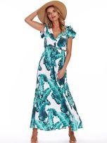 Zielona długa sukienka z nadrukiem liści                                  zdj.                                  1