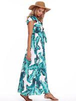 Zielona długa sukienka z nadrukiem liści                                  zdj.                                  3