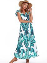 Zielona długa sukienka z nadrukiem liści                                  zdj.                                  4