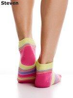 STEVEN Bawełniane stopki żółto-różowe z nadrukiem pasków                                  zdj.                                  5