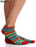 STEVEN Czerwone bawełniane skarpety stopki w paski                                  zdj.                                  2