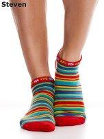 STEVEN Czerwone bawełniane skarpety stopki w paski                                  zdj.                                  5