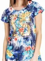 Siateczkowy t-shirt w kwiaty z nadrukiem SAN DIEGO 15                                  zdj.                                  5