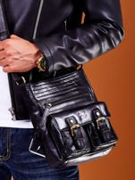 Skórzana torba męska czarna z kieszeniami                                  zdj.                                  3