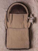 Śpiworek niemowlęcy pikowany do wózka lub łóżeczka z poduszeczką ocieplany na futerku brązowy                                  zdj.                                  2