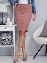 Spódnica różowa z imitacji zamszu ze sznurowaniem                                   zdj.                                  1