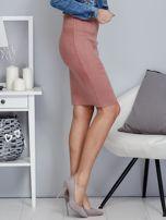 Spódnica różowa z imitacji zamszu ze sznurowaniem                                   zdj.                                  5