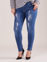 Spodnie jeansowe niebieskie z dżetami PLUS SIZE                                  zdj.                                  1