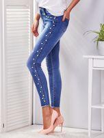 Spodnie jeansowe niebieskie z perełkami                                  zdj.                                  3