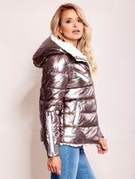 Srebrna metaliczna pikowana kurtka                                  zdj.                                  2