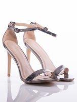 Srebrne sandały Vinceza na szpilkach zapinane w kostkach                                   zdj.                                  2
