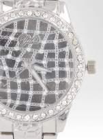 Srebrny zegarek damski na bransolecie z cyrkoniową kopertą