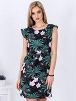 Sukienka ciemnoszara w roślinne motywy                                   zdj.                                  1