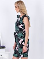 Sukienka ciemnoszara w roślinne motywy                                   zdj.                                  5
