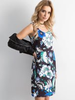 Sukienka czarna odcinana w kwiaty                                  zdj.                                  2