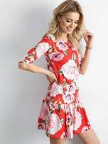 Sukienka czerwona w duże kwiaty z falbaną                                  zdj.                                  2
