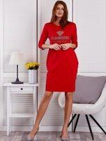 Sukienka damska czerwona z diamentem                                  zdj.                                  4