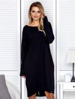 Sukienka damska dresowa o luźnym kroju czarna                                  zdj.                                  1