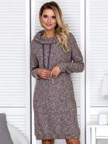 Sukienka damska melanżowa z szerokim kołnierzem brązowa                                  zdj.                                  1