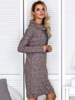Sukienka damska melanżowa z szerokim kołnierzem brązowa                                  zdj.                                  3