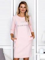 Sukienka damska różowa z diamentem                                  zdj.                                  1