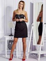 Sukienka damska ze skórzanym modułem i koronką czarna                                  zdj.                                  4