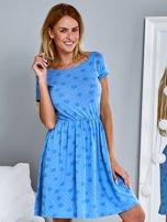 Sukienka dzienna z nadrukiem w kwiatki niebieska                                  zdj.                                  1