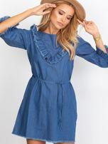 Sukienka niebieska z wystrzępionymi wykończeniem                                   zdj.                                  5