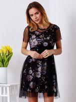 Sukienka warstwowa z kwiatowym motywem czarna                                  zdj.                                  1