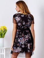 Sukienka warstwowa z kwiatowym motywem czarna                                  zdj.                                  2