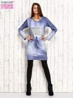 Sukienka z aplikacją i troczkami jasnoniebieska                                  zdj.                                  4