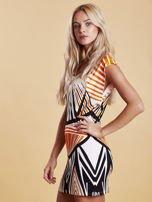 Sukienka z nadrukiem i wycięciem na plecach pomarańczowa                                  zdj.                                  3