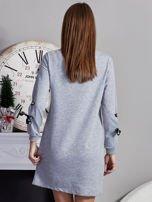 Sukienka z tasiemkami przy mankietach szara                                  zdj.                                  2