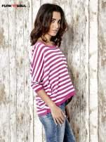 Sweter z dłuższym tyłem w biało-różowe paski Funk n Soul                                  zdj.                                  3