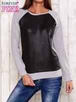Szara bluza z czarną pikowaną wstawką                                  zdj.                                  1