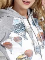 Szara bluza z kapturem i miejskim nadrukiem                                   zdj.                                  6