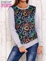 Szara bluza z nadrukiem cyfr                                                                          zdj.                                                                         1