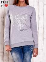 Miętowa bluza z nadrukiem serca i napisem JE T'AIME                                                                           zdj.                                                                         1