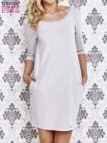 Szara dresowa sukienka z wiązaniem na plecach                                  zdj.                                  1