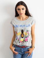 Szara koszulka z kolorowym nadrukiem                                  zdj.                                  1