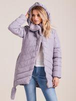 Szara pikowana kurtka zimowa z futerkiem                                  zdj.                                  4